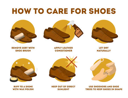 How to care for leather shoes instruction Vector Illustration
