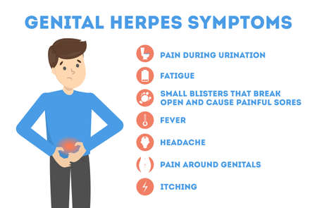Genital herpes symptoms. Infectious dermatology disease illustration 向量圖像