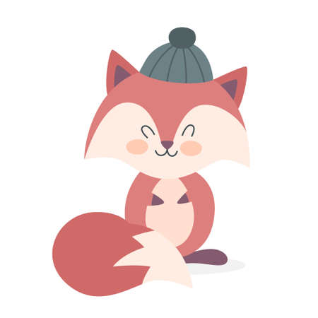 Cute funny fox in a hat. Happy creature with red fur and long tail. Element for greeting card. Isolated vector illustration in cartoon style Çizim