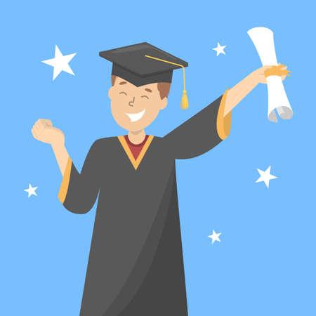 Hombre feliz en toga y gorra de graduación celebra el éxito. Estudiante con diploma. Graduación de la universidad y licenciatura. Chico sonriente. Ilustración de vector aislado en estilo de dibujos animados Ilustración de vector
