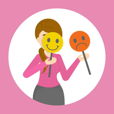 Woman hiding her face behind mood mask. Sad and happy mask. Hiding real emotion and pretend. Psychology concept. Vector illustration in cartoon style