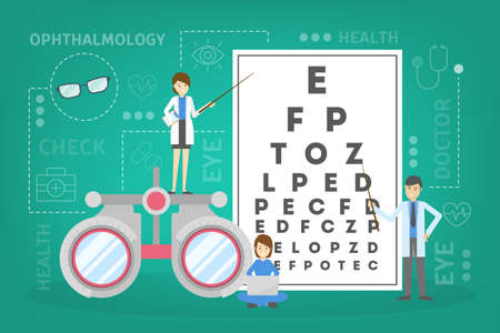 Ophthalmology concept. Idea of eye care and vision. Oculist pointing at eye test chart. Eyesight examination and correction. Vector illustration in cartoon style Illustration