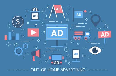 Concept de publicité extérieure. Bannière de panneau d'affichage et affiche de rue