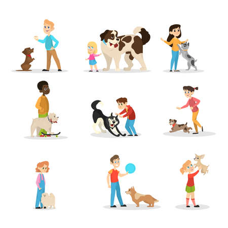Children play with their dogs set. Collection of happy kid and pet spend time together. Friendship between animal and children. Isolated vector illustration in cartoon style