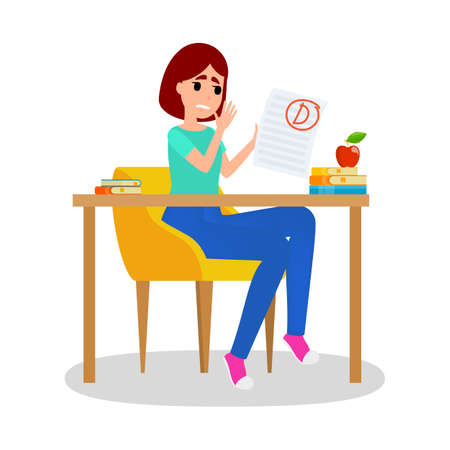 Girl holding paper sheet with grade on it. Girl sitting at the desk with grade D. Idea of education and learning. Sad female with bad grade. Isolated flat vector illustration
