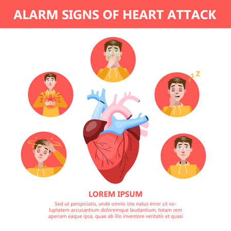 Heart attack symptoms and warning sings. Infographic for people with heart problems. Pain in chest and dizziness, sweating and sickness. Isolated vector illustration in cartoon style