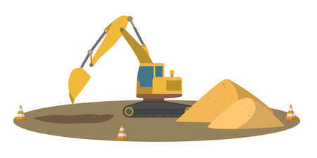 Big yellow excavator. Ground works. Equipment for construction works. Isolated flat vector illustration