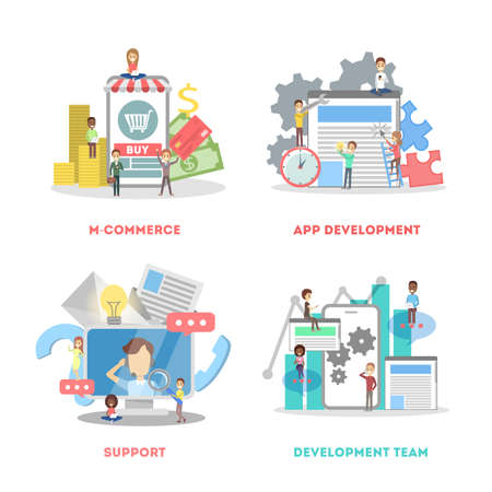 Set of app development web banner. Support