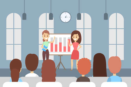 Woman making business presentation in front of group of people. Team presenting business plan on seminar. Flat vector illustration