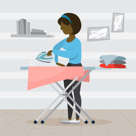 Woman iron clothes on ironing board. Idea of domestic work and laundry. Housework concept. Flat vector illustration Illustration