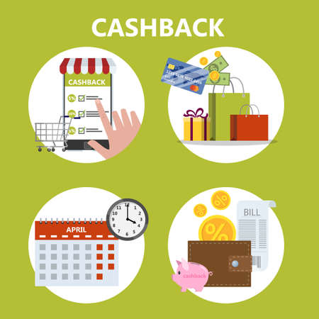 How to get cashback using credit card instruction. Guide for people who want to save money. Idea of finance and economy. Pay by card and get bonus. Isolated vector flat illustration Ilustrace