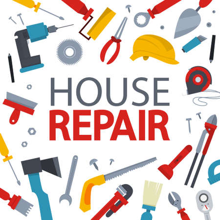 House repair concept banner. Equipment for repair. Wrench, brush and hammer. Handyman tools. Isolated vector illustration Vector Illustration