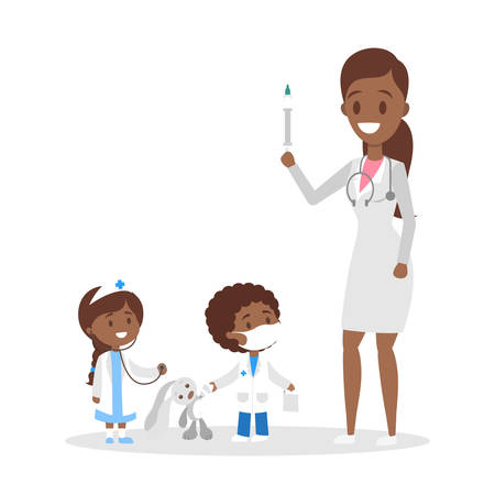 Cute happy little kid in doctor uniform play with mother. Child play as medicine worker with different equipment. Flat vector illustration