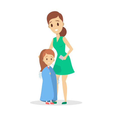 Mother take care of sick daughter suffering from chill. Care about little ill child. Isolated vector illustration in cartoon style 向量圖像