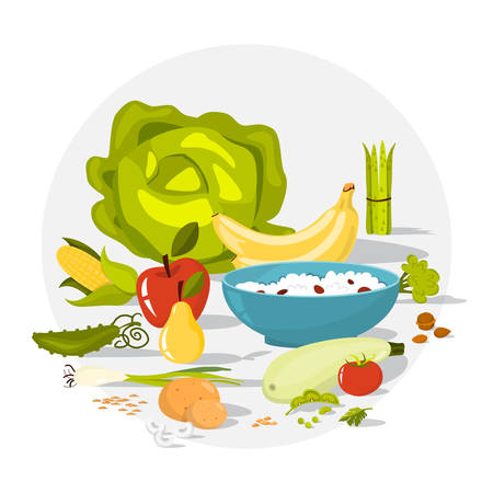 Fiber food set. Beans and broccoli, rice and apple. Healthy nutrition. Fruit and vegetable. Isolated vector illustration in cartoon style