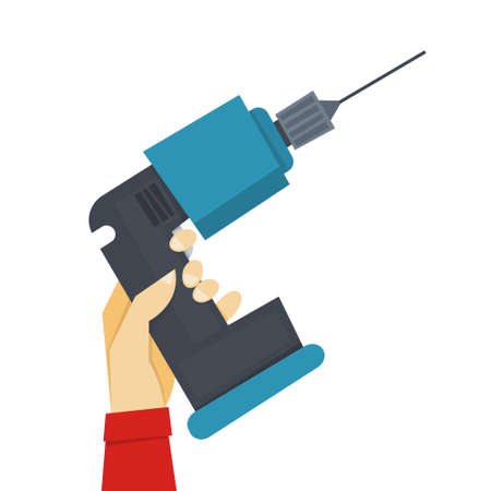 Hand holding drill. Tool for carpenter or builder. Professional equipment. Isolated vector illustration Vectores