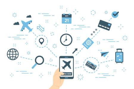 Book flight online concept. Idea of travel
