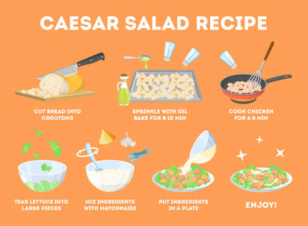 How to cook caesar salad at home. Easy recipe for tasty homemade food. Chicken and lettuce ingredients. Healthy fresh nutrition. Isolated cartoon vector illustration