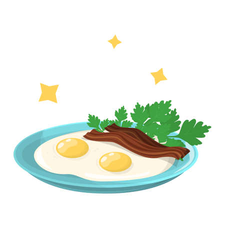 Tasty fried eggs with bacon and parsley for breakfast. Delicious food in the morning. Yellow yolk. Vector illustration in cartoon style Stock Illustratie