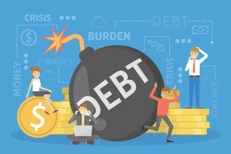 Debt concept. Problem with finance Big bomb as metaphor of bankruptcy risk. Vector illustration in cartoon style