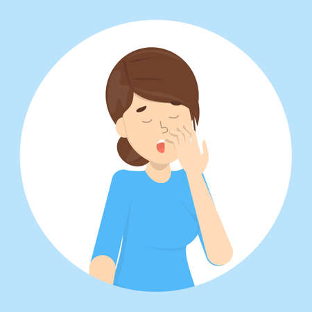 Tired or bored woman yawn. Sleepy girl with open mouth. Lady yawning covering mouth with hand. Getting bored from different activity. Isolated flat vector illustration Illustration