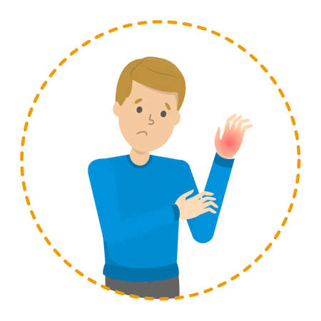 Man feel numbness in a one hand. Symptom of disease. Muscle injury. Tingling in hand. Vector illustration in cartoon style
