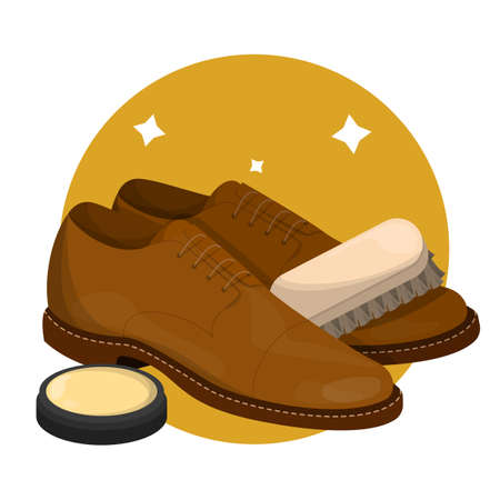 Care for leather shoes. Clean footwear polishing