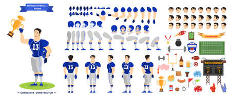 American football player character set for the animation with various views, hairstyle, emotion, pose and gesture. Isolated vector illustration in cartoon style