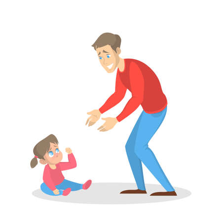 Little upset child cry and man try to calm a baby. Father and sad kid. Isolated vector cartoon illustration