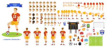Football player character set for the animation Ilustração