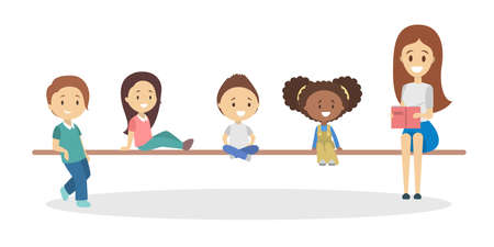 Woman reading book for little children. Happy kids listen to story. Boys, girls and teacher. Flat vector illustration