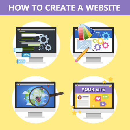 How to make a website on the computer. Web page design and website development concept. Creating interface. Blog in the internet. Isolated vector illustration in cartoon style