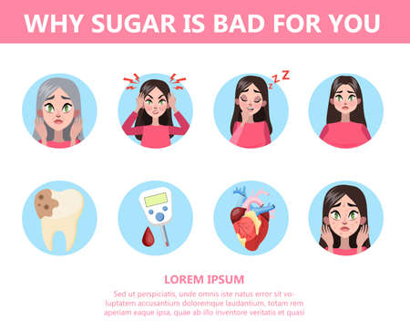 Infographic why too much sugar is bad for you. Illustration