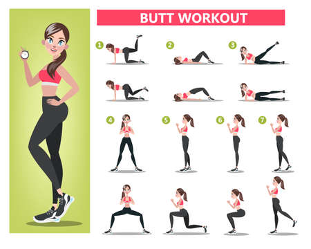 Woman doing different exercise for fit body Illustration