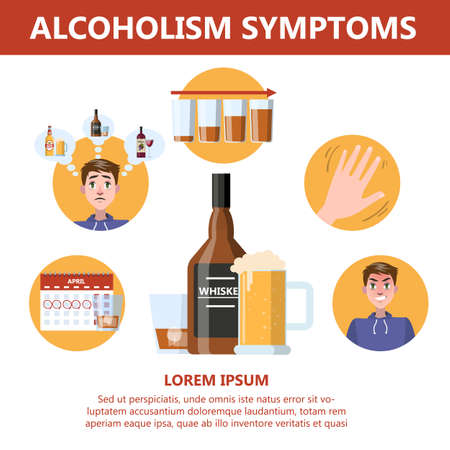 Alcohol addiction symptoms. Danger from alcoholism infographic Vector Illustration