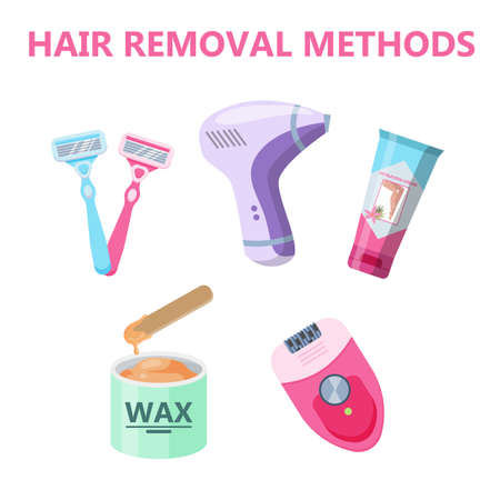Hair removal methods infographic for women. Hair depilation and epilation. Idea of skin care and beauty. Razor, laser, wax and epilator. Isolated vector illustration in cartoon style Illustration