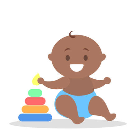 Cute little baby boy play with pyramid. Child with a colorful toy. Kid holding pyramid piece. Flat vector illustration