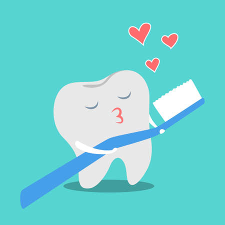 Tooth in love with toothbrush. Funny dental character kiss brush. Idea of oral care. Isolated flat vector illustration