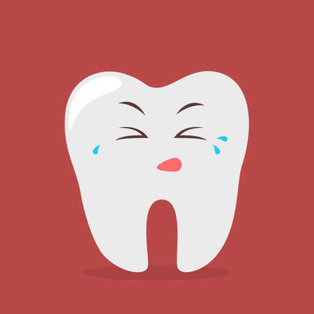Sad tooth character cry. Idea of dental and oral care. Bad hygiene and pain in teeth. Isolated flat vector illustration