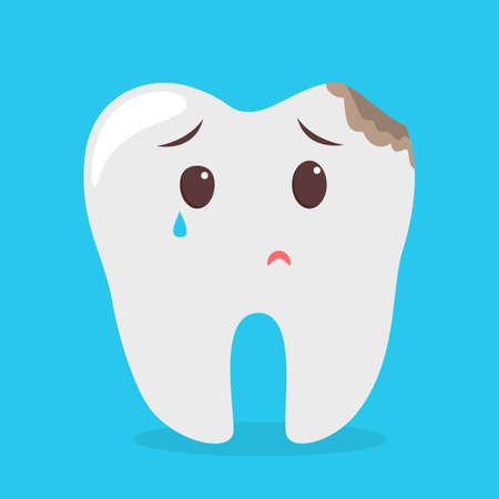 Sad tooth character cry from caries. Idea of dental and oral care. Bad hygiene and pain in teeth. Isolated flat vector illustration