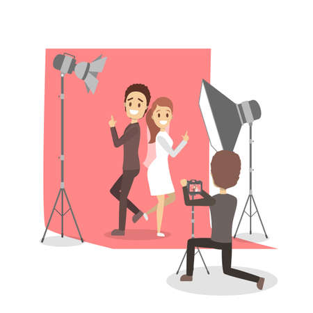 Beautiful woman and man couple making photoshoot on the red background. Various equipment such as softbox and camera. Isolated flat vector illustration