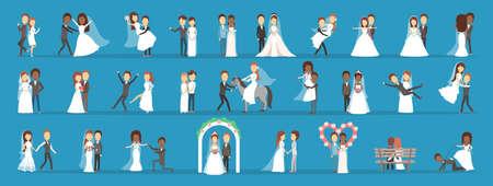 Paar bruiloft set. Collectie van bruid met boeket