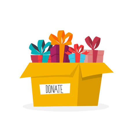 Charity-Konzept. Spenden Sie, um armen Menschen zu helfen. Machen Sie eine Spende und teilen Sie Liebe. Idee des humanitären. Box mit Geschenken. Flache Vektorgrafik
