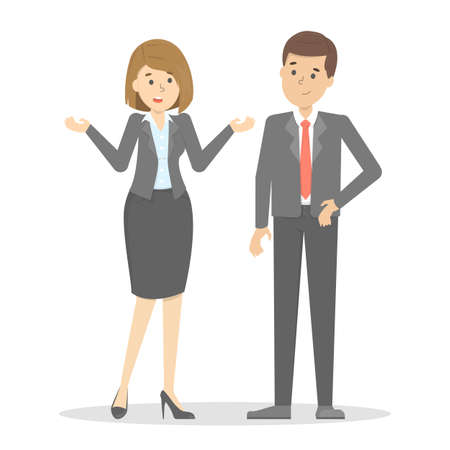 Two businessmen talk to each other. Dialog with a person. Conversation between man and woman in suit. Girl ask for clarification. Vector illustration in cartoon style  イラスト・ベクター素材