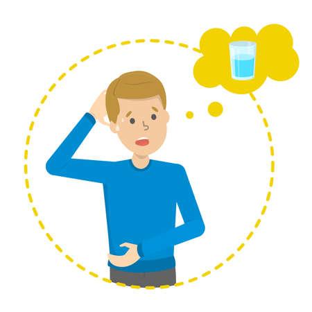 El hombre cansado piensa en un vaso de agua dulce. Concepto de sed. Chico sediento. Ilustración de vector aislado en estilo de dibujos animados