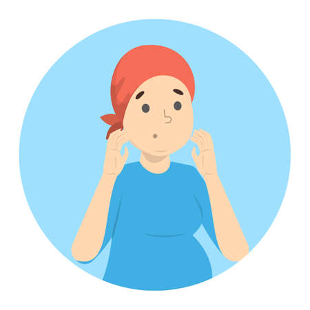 Sick sad woman with cancer. Bold girl after a chemotherapy. Idea of healthcare and medical examination. Isolated vector illustration in cartoon style Vektorové ilustrace