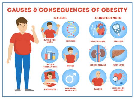 Adipositas Ursachen und Folgen Infografik für Übergewicht