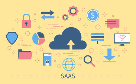 SAAS or software as a service concept Illustration