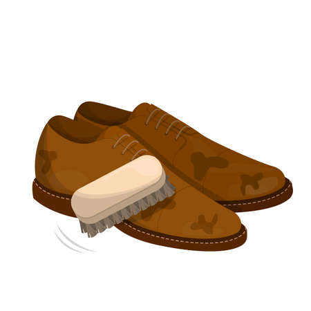 Care for leather shoes. Polishing dirty footwear