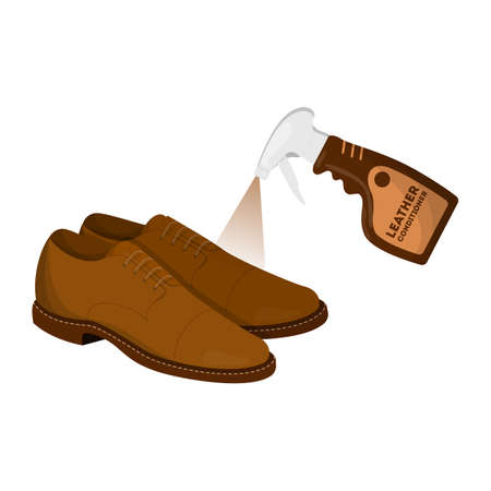 Care for leather shoes. Applying conditioner on the clean Illustration